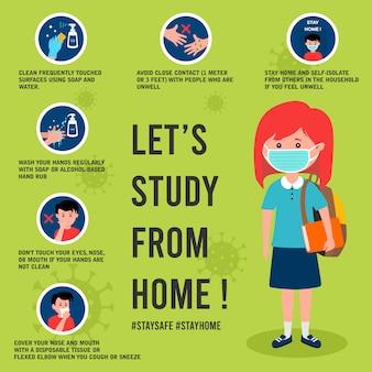 Cartel de prevención de virus corona con ilustración de estudiante