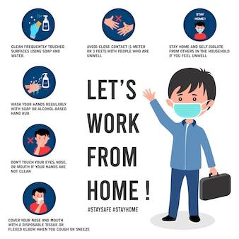 Cartel de prevención de virus corona con ilustración de trabajador