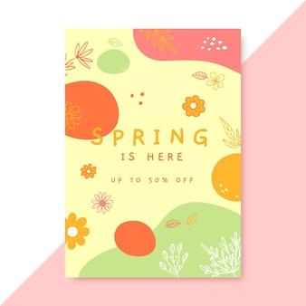 Cartel de primavera colorido doodle