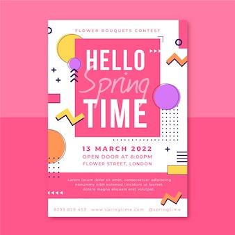 Cartel de primavera colorido de memphis