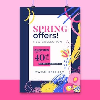 Cartel de primavera colorido pintado abstracto