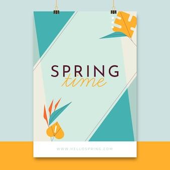 Cartel de primavera elegante geométrico
