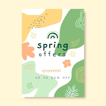 Cartel de primavera infantil dibujado a mano