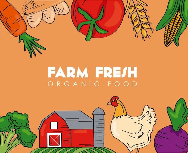 Cartel de productos agrícolas frescos con marco de iconos