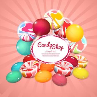 Cartel de productos dulces realistas