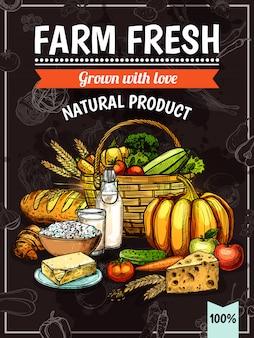 Cartel de productos de granja