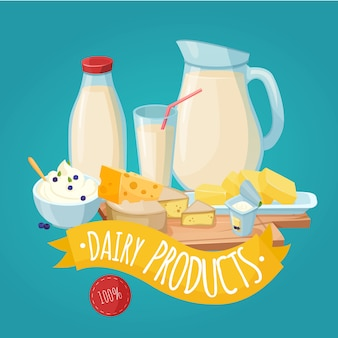 Cartel de productos lácteos