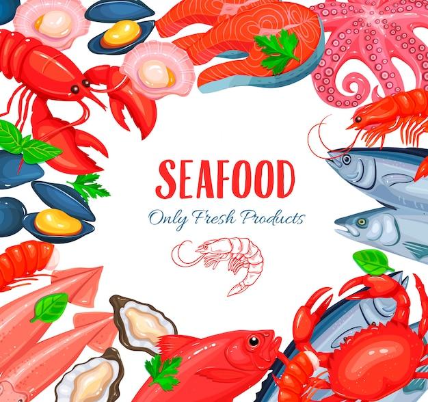 Cartel de productos de mariscos