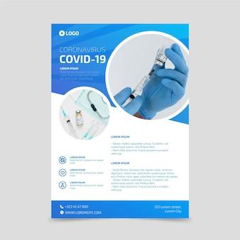 Cartel de productos médicos de coronavirus con foto.