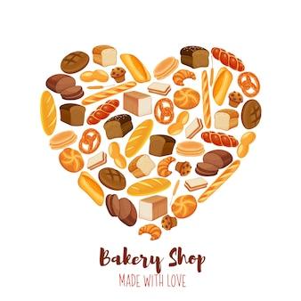 Cartel de productos de pan en forma de corazón