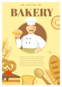 Cartel de productos de panadería y harina