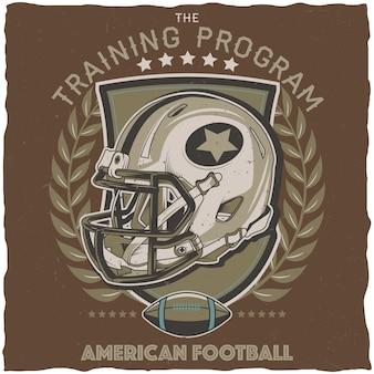 Cartel del programa de entrenamiento de fútbol americano.
