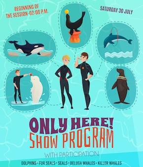 Cartel del programa del espectáculo del delfinario