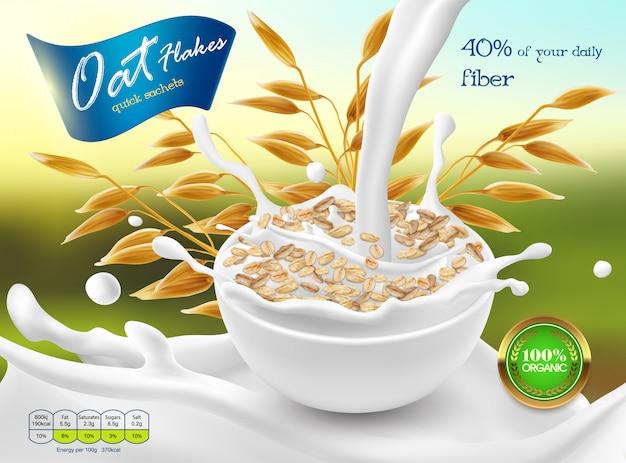 Cartel de promo realista 3d, banner de copos de avena. orejas de cereales, granos con tazón blanco