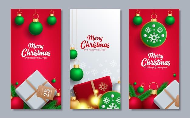 Cartel de promoción con bolas de navidad, gorro de papá noel, cajas de regalo, confeti y lugar para el texto.