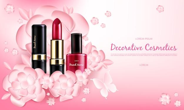 Cartel de promoción cosmética realista vector