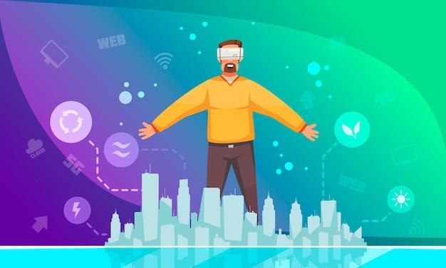 Cartel de promoción de energía ecológica con hombre en auriculares vr de pie en la ilustración de degradado colorido de ciudad inteligente