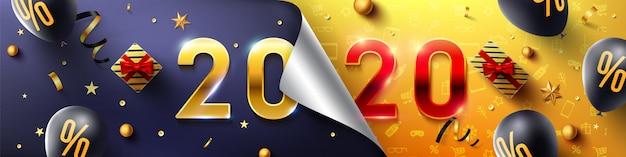 Cartel de promoción de feliz año nuevo 2020 o banner con regalo abierto