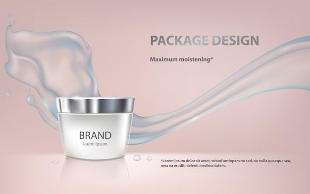 Cartel para la promoción de productos cosméticos hidratantes premium