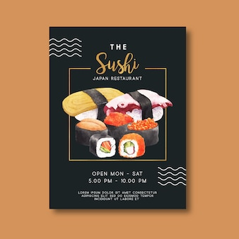 Cartel de promoción para restaurante de sushi