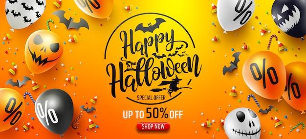 Cartel de promoción de venta de halloween con dulces de halloween y globos de fantasmas de halloween