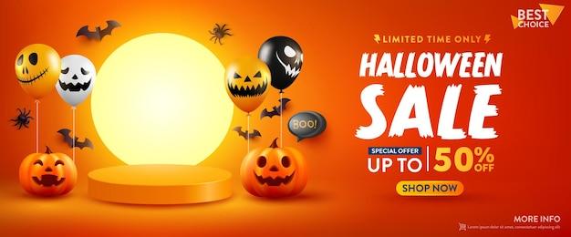 Cartel de promoción de venta de halloween o pancarta con calabaza de halloween
