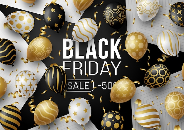 Cartel de promoción de venta de viernes negro o banner con globos. oferta especial 50% de descuento en venta en color negro y dorado. plantilla de promoción y compra para black friday