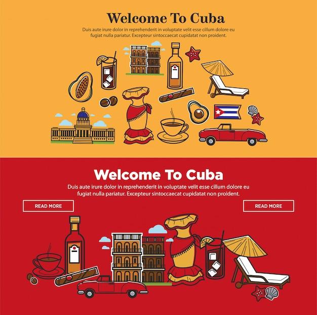 Cartel promocional de bienvenida a cuba con símbolos nacionales.