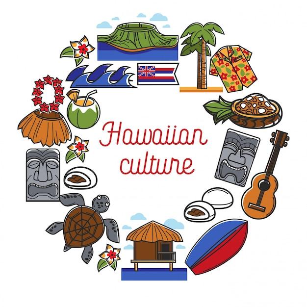Cartel promocional de la cultura hawaiana con símbolos tradicionales del país.
