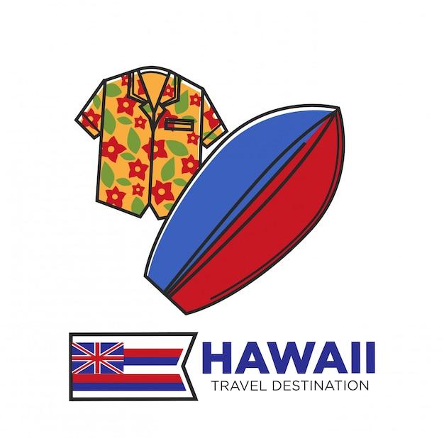 Cartel promocional de destino de viaje de hawaii con camisa de flores y tabla de surf