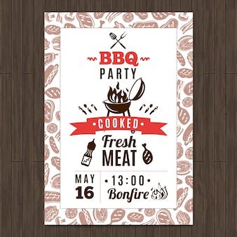 Cartel promocional de fiesta de barbacoa con elementos frescos de carne a la parrilla