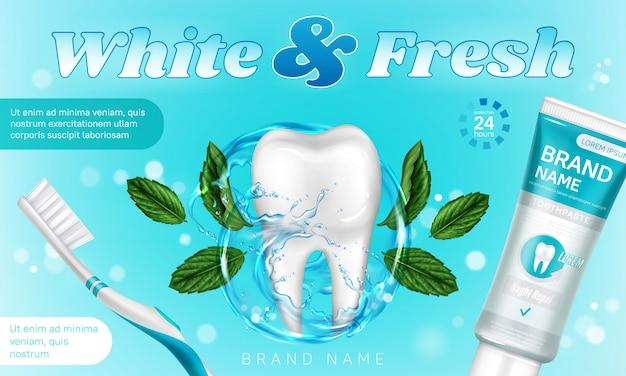 Cartel promocional de pasta de dientes con menta y cepillo de dientes