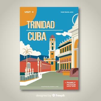 Cartel promocional retro de una plantilla de ciudad