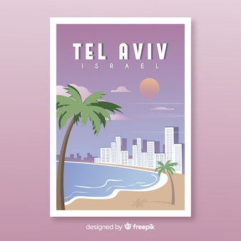 Cartel promocional retro de la plantilla de tel aviv