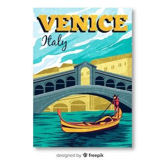 Cartel promocional retro de plantilla de venecia