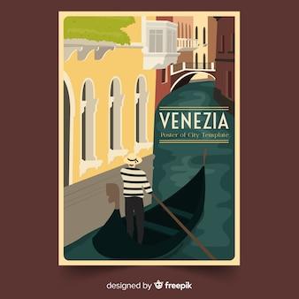 Cartel promocional retro de venezia