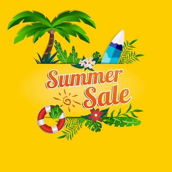 Cartel promocional de venta de redes sociales de verano.