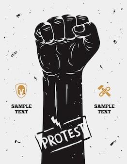 Cartel de protesta, puño levantado en protesta.