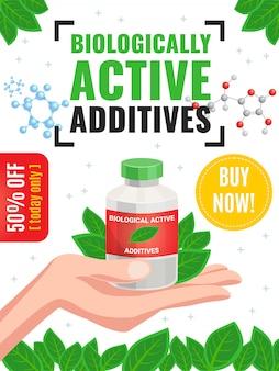 Cartel de publicidad de aditivos activos biológicos con 50 por ciento de descuento en la oferta y hojas verdes que enmarcan la ilustración de dibujos animados
