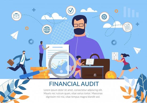 Cartel de publicidad de auditoría financiera independiente