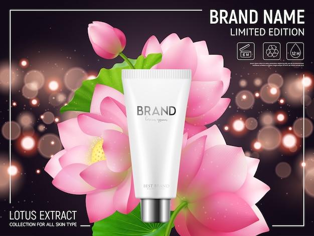 Cartel de publicidad de cosméticos de loción corporal de extracto de lotus con grandes flores realistas contra plantilla de luces de burbuja