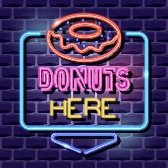 Cartel de publicidad de neón de donuts