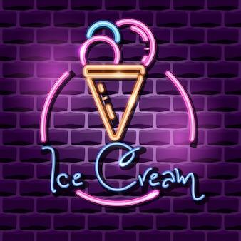 Cartel de publicidad de neón helado