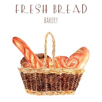 Cartel de publicidad de pan panadería con cesta de la vendimia panes y baguette redondo trigo completo