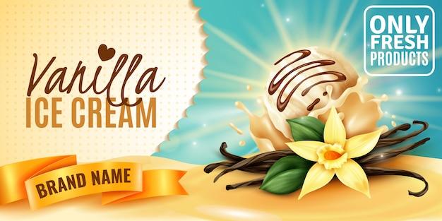 Cartel de publicidad de producto con sabor a vainilla y helado de vainilla con vainas de semillas aromáticas de flores de plantas realistas