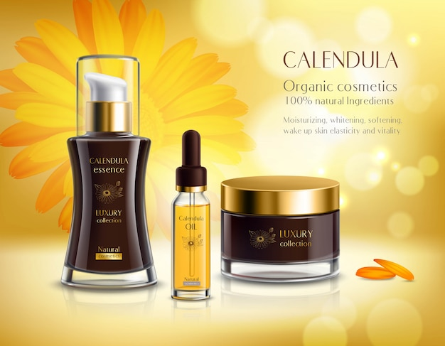 Cartel de publicidad realista de productos cosméticos