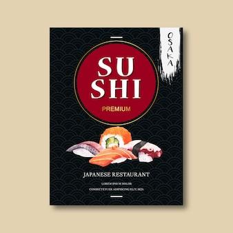 Cartel para publicidad del restaurante de sushi.
