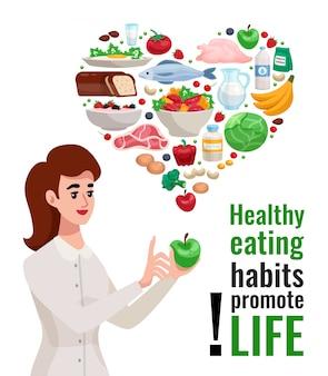 Cartel publicitario de alimentación saludable con mujer joven con manzana verde y elementos alimenticios útiles