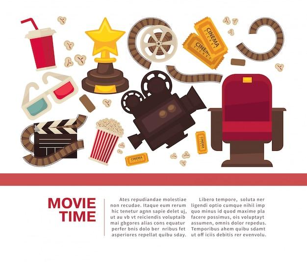 Cartel publicitario de cine con equipamiento simbólico cinematográfico.