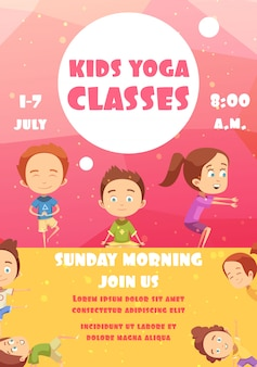 Cartel publicitario de clases de yoga para niños